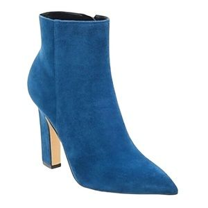 Marc Fisher Mayae Blue Suede Booties Size 10
